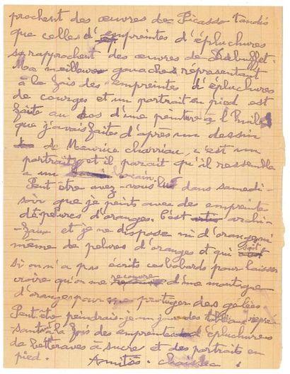 Gaston CHAISSAC (1910-1964). L.A.S., [vers 1950?], à André Bloc; 2 pages petit...