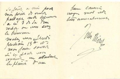 Jules CHÉRET (1836-1932) peintre et affichiste. 2 L.A.S., Paris 1890-1912; 1 page...