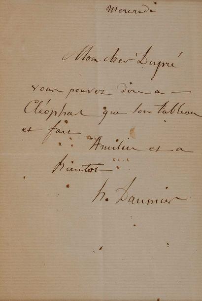 Honoré DAUMIER (1808-1879). L.A.S., Mercredi,...