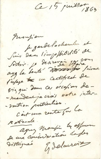 Eugène DELACROIX. L.A.S., 15 juillet 1863;...