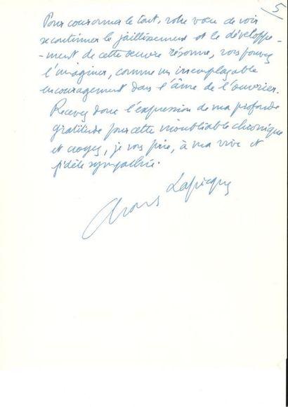 Charles LAPICQUE. 2 L.A.S., Paris 1967, à...
