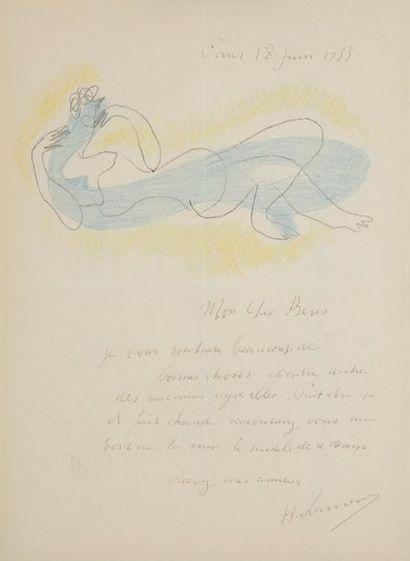 Henri LAURENS (1885-1954). L.A.S. avec dessin, Paris 18 juin 1953, à Pierre Berès;...