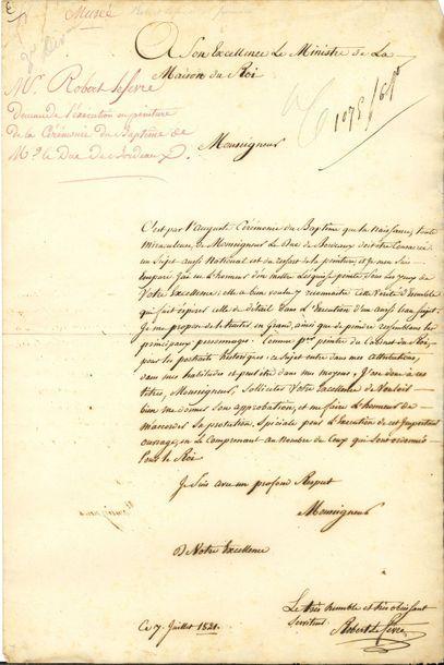 Robert LEFÈVRE (1755-1830) peintre. L.A.S., 7 juillet 1821, au marquis de Lauriston,...