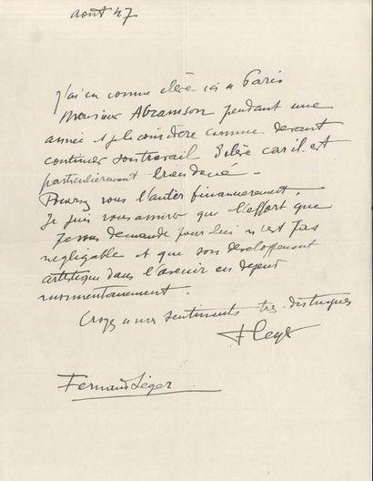Fernand LÉGER (1881-1955). L.A.S., août 1947; 1page in-4 «J'ai eu comme élève...
