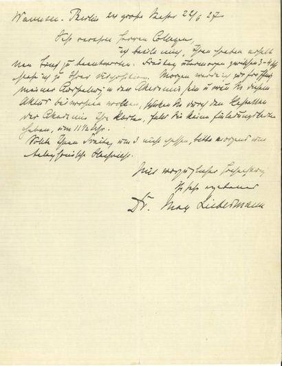 Max LIEBERMANN (1847-1935). L.A.S., Wannsee-Berlin...