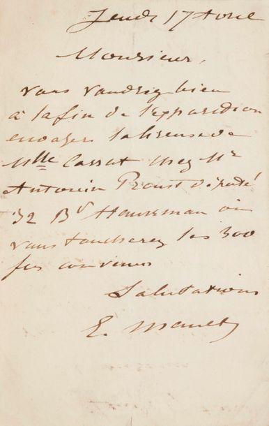 Édouard MANET. L.A.S., Jeudi 17 avril [1879];...
