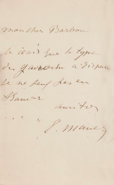 Édouard MANET. L.A.S., à son cher Barbou;...