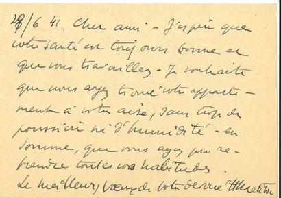 Henri MATISSE (1869-1954). L.A.S., Nice 28...