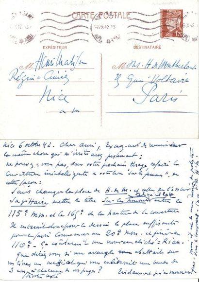 Henri MATISSE. 2 L.A.S., Nice 5-6 octobre 1942, à Henry de Montherlant à Paris;...