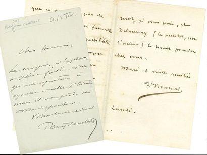 PEINTRES. 2 L.A.S. et 2 cartes de visite autographes Benjamin-Constant (à propos...