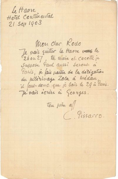 Camille PISSARRO (1831-1903). L.A.S., Le Havre 21 septembre 1903, à son fils Ludovic-Rodolphe...
