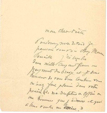 Auguste RODIN. L.A. à un «cher poëte»;...