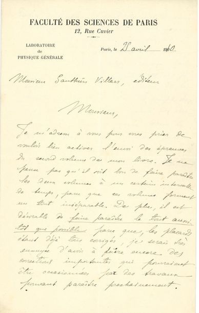 Marie CURIE (1867-1934). L.A.S., Paris 25...