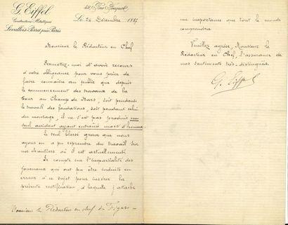 Gustave EIFFEL. L.S., Levallois-Perret 24...
