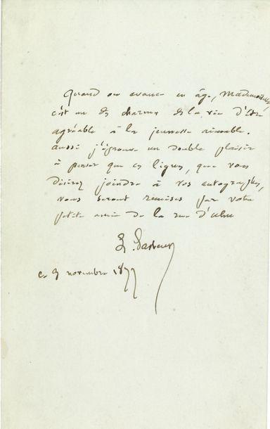 Louis PASTEUR. L.A.S., 3 novembre 1877, à...