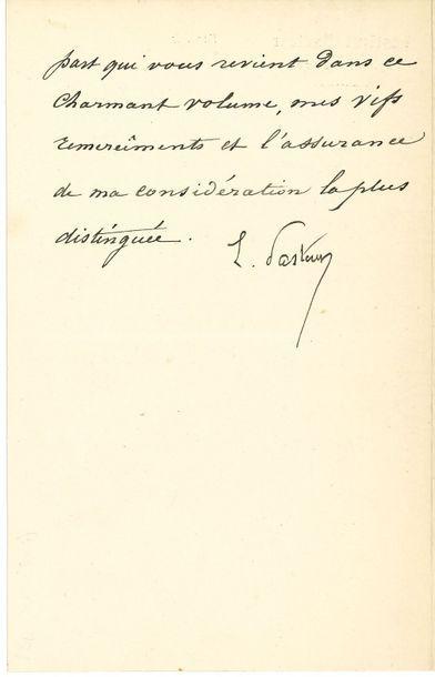 Louis PASTEUR. L.S., Paris 23 mars 1891;...