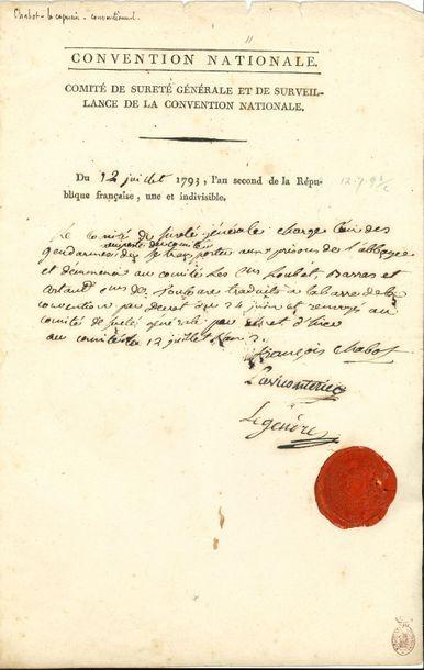 François CHABOT (1759-guillotiné 1794) ex-capucin,...