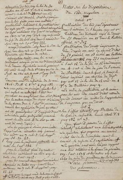 CODE Napoléon. Manuscrit, Notes sur les dispositions...