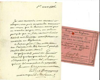 Pierre-Samuel DUPONT DE NEMOURS. L.A.S.,...
