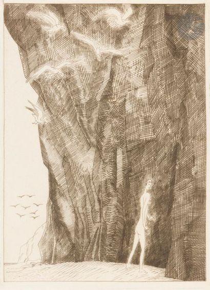 Jean-Emile LABOUREUR (1877-1943) Baigneuse aux mouettes. 1930. Eau-forte. 166x218....