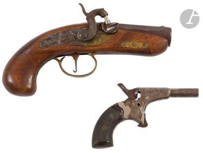 Pistolet de cycliste, un coup, calibre 5,5 mm, détente éperon. E.M. Vers 1880 /...