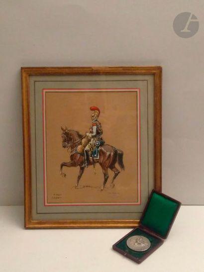 Eugène PECHAUBES, d'après Carabinier et Grenadier à cheval Deux lithographies rehaussées...