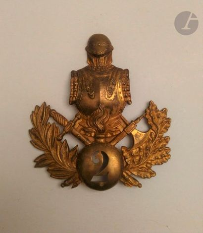 Plaque de shako en laiton du 2e régiment...