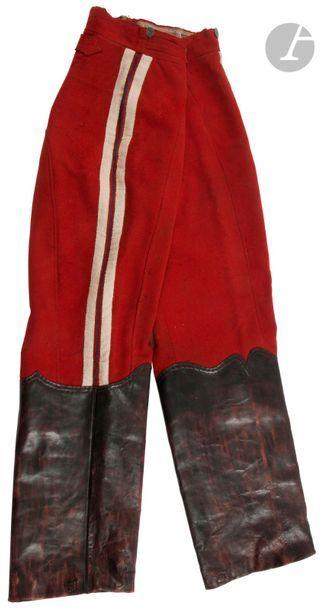 Pantalon à basane troupe de hussard, en drap...