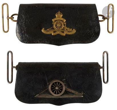 Deux coffrets de giberne d'artillerie britannique...