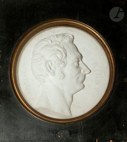 Edme Jean Louis SORNET (1802-1876) L'Amiral de RIGNY Médaillon en plâtre, en demi...