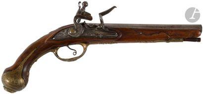 Pistolet à silex d'officier. Canon rond à pans au tonnerre signé sur la bande «...