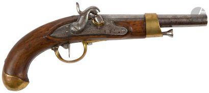 Pistolet d'arçon à silex transformé civilement à percussion modèle An XIII. Canon...