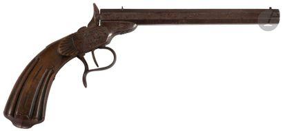 Pistolet de tir système Flobert, un coup, calibre6mm. Canon à pans. Crosse en...