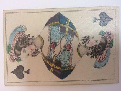 Jeu au portrait XP1 var. ou XP3 : anon., Allemagne, milieu XIXe ; 52/52 cartes ;...
