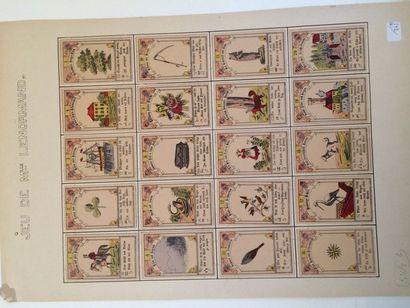 Feuille cartonnée d'un jeu divinatoire français...