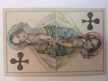 Jeu « Sofakarten » : Darmstadt, milieu du XIXe s. ; gravure sur cuivre et couleurs...