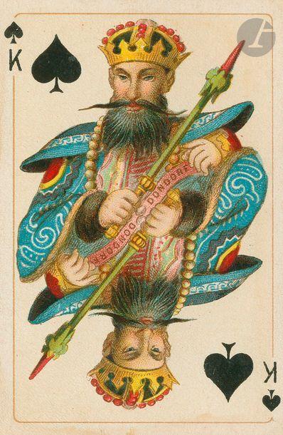 Patience des Quatre continents No 27, Dondorf, c.1890 ; étui ; 32/32 cartes + 1...