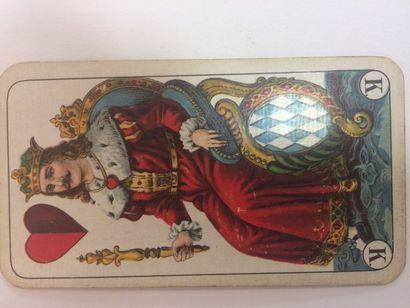 Portrait de Bavière, F.X. Schmid, c.1900 ; pub. cigarettes Zuban; coins ronds ;...