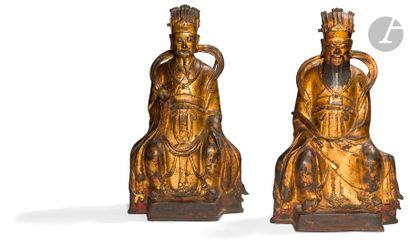 CHINE - XIXe siècle Deux statuettes de dignitaires...