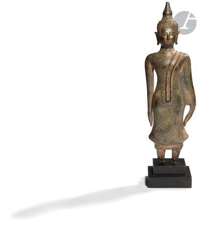 LAOS - XVIIe siècle Statuette en bronze à...