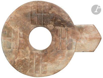 CHINE - Vers 1900 Disque chu kuo bi en néphrite...