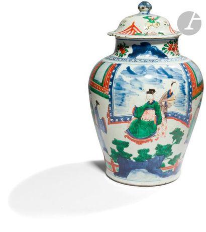 CHINE - XVIIe siècle Potiche couverte balustre...