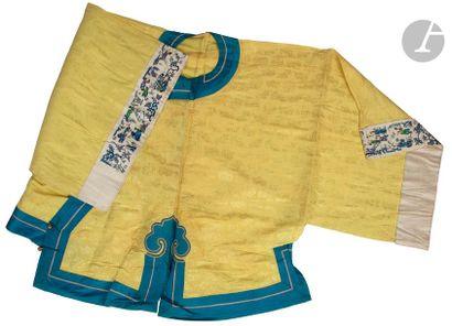 CHINE - XIXe siècle Veste d'été en soie jaune...
