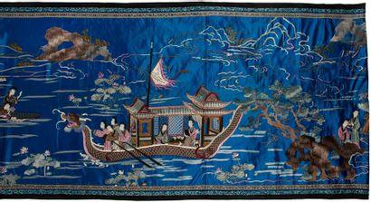 CHINE - Fin XIXe siècle Grand panneau en...