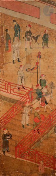 CHINE - XVIIIe siècle Ensemble de deux fragments...