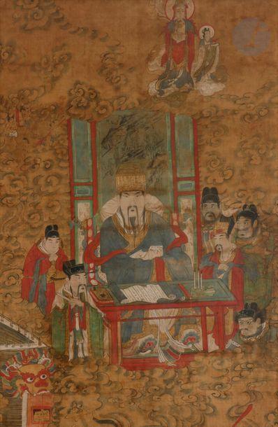 CHINE - XIXe siècle Ensemble de trois peintures,...