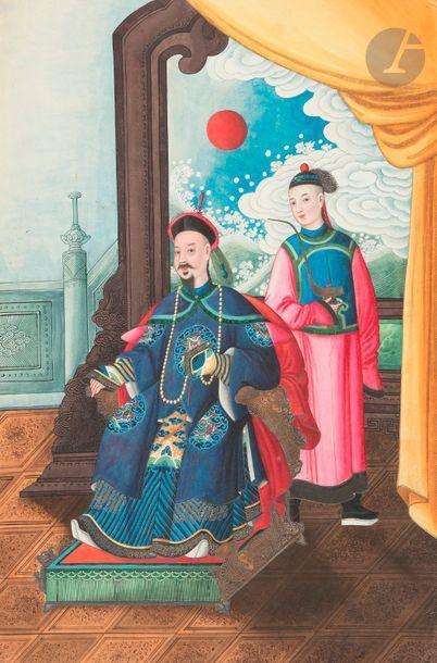 CHINE, Canton - Vers 1900 Album de dix peintures,...