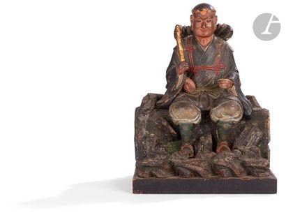JAPON - XIXe siècle Groupe en bois sculpté...