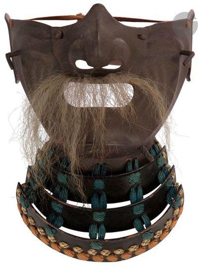 JAPON - XIXe siècle Masque menpô en fer composé...