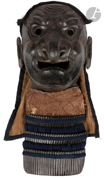 JAPON - XIXe siècle Menpô happuri en fer...